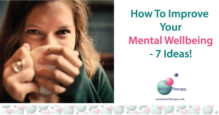 How To improve your mental wellbeing blog post cover image - woman with coffee