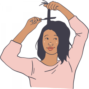 a part of mental wellbeing is feeling like you need to keep up, this person styling their hair to look the part